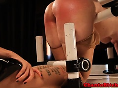 Redhead domina spanks blonde open mouth submissive