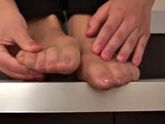 brunette in black leggings and nude pantyhose ( foot tease )