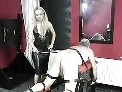 Tied up old slave whipped hard by femdom BDSM mistress