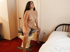 Chubby Miel Masturbating Her Hairy Quim