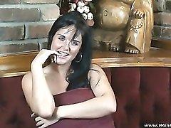 Flirty striptease from a joyful British babe