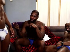 Ebony hunk spitroasting black ass in trio