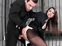 Fucking ripped pantyhose girl in jail
