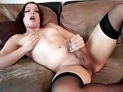 Sweet brunette goes out casting and shows off shemale body