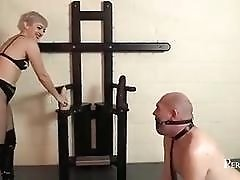 Femdom mistress fucks her slave with a strapon BDSM porn