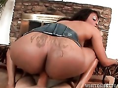 Her big ass is inked and rides dick in hot video