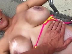 Huge titted whore anal pounded outdoors