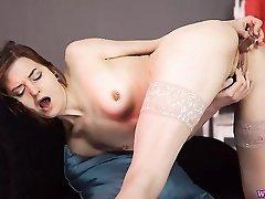 Dildo fucking British hottie with pierced nipples