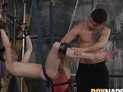 Sexy Jack Taylor bangs horny ropes swinging Aaron Aurora
