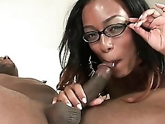 Black cock pounds her soaking wet ebony cunt