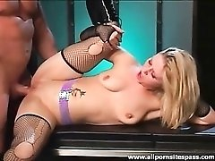 Tiny titted blonde in fishnet stockings gets ploughed