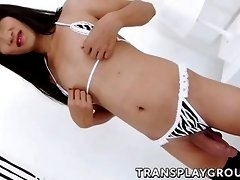 ladyboy unleashes a big load