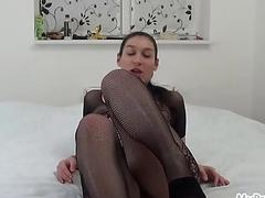 Pregnant Janetta Fucks Her Hairy Pussy with a Dild