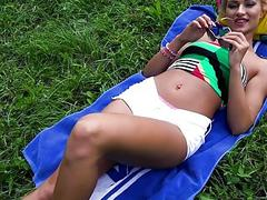 Hot Czech babe gets pounded in the park