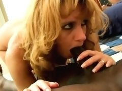 Horny blonde wife in black stockings gets her tight cunt pounded by an ebony dick