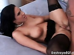 Stockings and heels slut fucked on her back