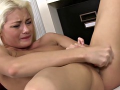 blonde uses a pen for masturbation