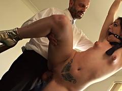 Dirty slut has rough sex with a pervert