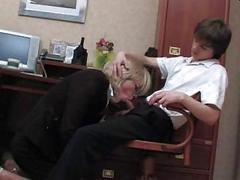 Yummy blonde secretary gets on her knees to suck this boy