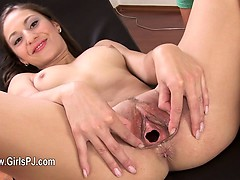 Luxury toy in her spread vagina cunt
