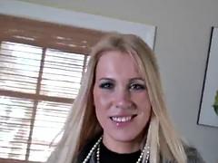 stunning blonde bitch sucks cock and gets stuffed