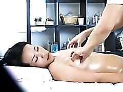 Wet brunette Asian girl massaged  sensually
