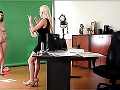 New model with amazing tits turns on the lesbian photographer