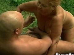 Fat Horny Granny Outdoor Fuck