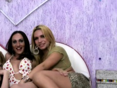 Naughty shemale foursome enjoy cucumber anal fucking orgy