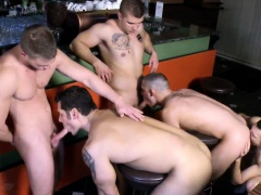 Gay group orgy fun from a european jock bar