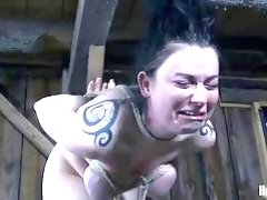 Chubby slave cries from the pain she receives BDSM movie