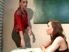 Lesbian teacher has bondage sex with slave in classroom BDSM