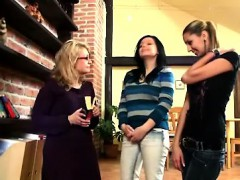 Linda, Mary and their teacher masturbate on stairs