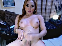 hot shemale babe cumming hard after nice solo jerking