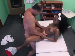 Ebony with a lovely bum bangs doctor