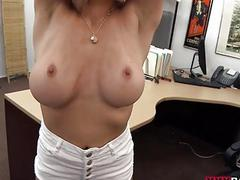 Busty blonde stripper fucked in office