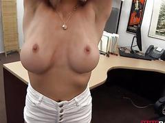 Busty blonde stripper fucked in office