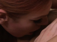 Redhead trans licking her lovers pussy