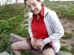 Mature public bench pee