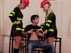 Firefighting dominas pegging his ass