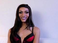 Ebony transsexual with smalltits masturbating