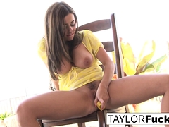 Naturally stacked Taylor plays with her pussy