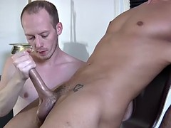 blindfolded dude gets wanked off by big dick felix chase
