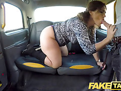 Faux Cab Hefty uber-sexy Spanish bum juggles as cock-squeezing cooter plumbed in taxi