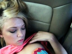 Beautiful blonde teen cutie Dakota Skye nailed in the car