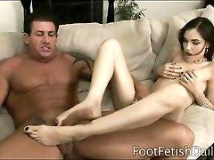 Sasha Grey footjob and deepthroat blowjob