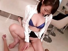 Babe in a sexy blue bra grinds on his cock