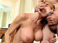 badass chick alexis fawx sucked and stroked his prick in the bathroom