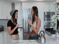 Teen babe seduced by hot lesbian
