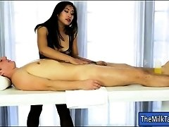 Asian masseuse fucked and got a hot cum blasted on her feet